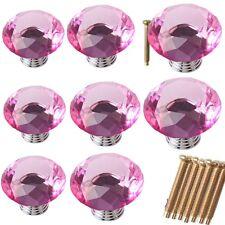 Diamond Crystal Glass Door Knob Drawer Kitchen Cupboard Cabinet Furniture Handle