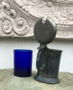 großes englisches Senftöpfchen Zinn antik blauer Glaseinsatz Rauchwerk Sand Duft
