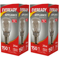 25W Eveready 300°C Oven Appliance Lamp Bulb Cooker 240V SES Base (E14) Pack of 2