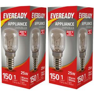 25W Eveready 300°C Oven Appliance Lamp Bulb Cooker 240V SES Base (E14) Pack of 2