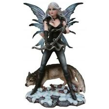 More details for hunter winter fairy and wolf display figurine statue ornament