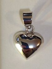 Sterling Silver Puffy Heart Small Pendant. Real Silver About 1 in long x .6 wide