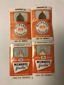 4 Packs of 18 Vintage Milwards Embroidery Needles England 36) H 35 3/9 36) 5/10