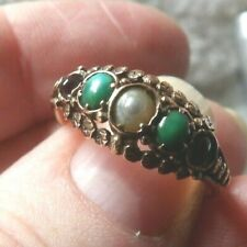 With Suffragette Stones Size P1/2 Ww137 Georgian 15 Carat Yellow Gold Ring Set