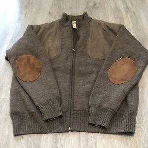 Beretta - mens Large 100% wool brown Pullover Zip Sweater- Hunting Outdoor