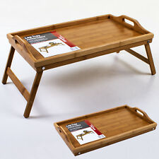 Bamboo Wooden Lap Tray Table Folding Legs Breakfast Serving Laptray Over Bed