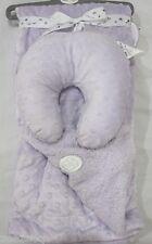 Baby Girls Sleep Tight Lavender Reversible Sherpa Blanket & Head Supoort 30 x 40