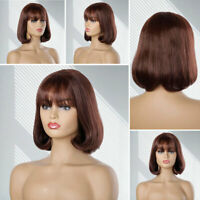 Stylish Bob Synthetic Wigs Short Straight Wavy Curly Brown Hair Wig With Bangs