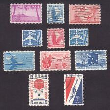 #C46 - #C56  MID CENTURY AIRMAIL 4¢-80¢ USED 11 REG & COIL STAMPS 1952-59 CV$5