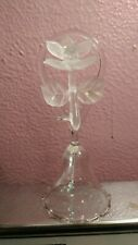 Vintage Hand Blown Clear Art Glass Bell Flower Top Very Unique