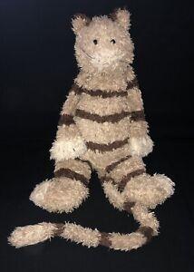 "Jellycat Bunglie Cat Tabby Tan Brown Stripes Floppy Shaggy 18"" Plush"