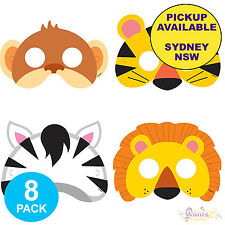 ANIMAL JUNGLE ZOO SAFARI PARTY SUPPLIES 8 CARDBOARD FACE MASKS LOOT BAG FAVOURS