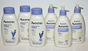 LOT (6) AVEENO STRESS RELIEF - 3 BODY WASH 3 LOTION - LAVENDER SOOTHING OAT 12OZ