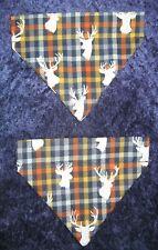 Buck heads on fall colors and plaid Dog Bandana - 5 sizes XS - XL