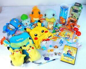 Huge Lot of 40 Pokemon Merch Figures Plush Hat Backpack Tins Pins DVD Book Game
