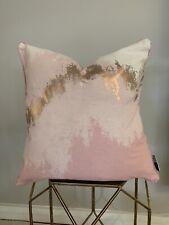 Blush Pink And Metallic Zig Zag Print Cushion