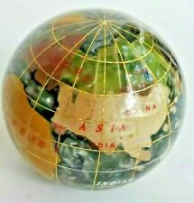 WORLD GLOBE PAPERWEIGHT BRASS & INLAID SEMIPRECIOUS STONES MOTHER OF PEARL