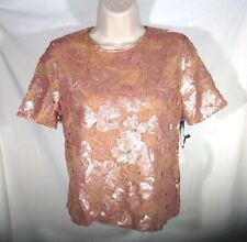Lace SHIRT floral sequins blush pink short sleeve fully lined top S