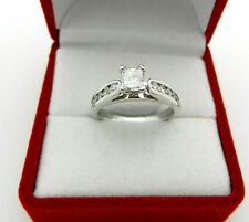 RADIANT Cut DIAMOND with ACCENT 0.70 tcw ENGAGEMENT RING 14K WHITE GOLD