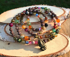 Mala Kette 108 Perlen Lotus Ganesha Buddha Jade Achat Gebetskette