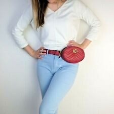 Gucci Red Quilted Leather GG Marmont Waist Belt Bag