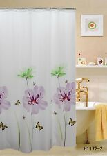 "Fabric Shower Curtain,70""x70"", Purple Lily, Flowers & Butterflies Printed"