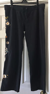 Lucky Brand Suitable For Framing Sweatpants Embroidered Floral XLARGE Stretch