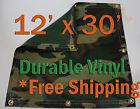 12' x 30' Heavy Duty 18 oz Vinyl Camo Camouflage Tarp Ground Cover Blind Hunting