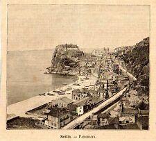 Stampa antica SCILLA Veduta Panoramica Stretto di Messina 1891 Old print