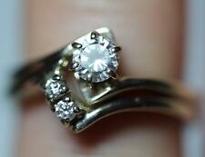 Vintage .40CT Round Diamond Solitaire 14K Gold Engagement Ring Wedding Band Wrap