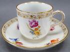 KPM Berlin Hand Painted Floral & Gold Demitasse Cup & Saucer Circa 1870 - 1945