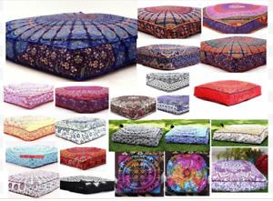 "5 Pcs Large Mandala Floor Pillows Wholesale Lot Square Indien Cushion Cover 35"""
