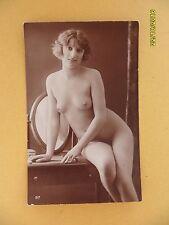 Original French 1910's-30's RPPC Postcard Nude Erotic Lady Sexy Sitting Pose #44