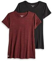 Essentials Women's 2-Pack Tech Stretch Short-Sleeve, Red, Size Large