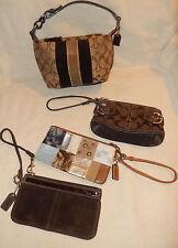 Coach Lot 4 Brown Signature Stripe Patchwork Leather Suede Pouch Bag Wristlet