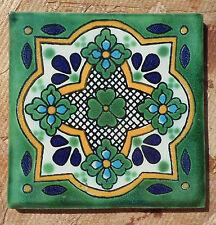 "10~Talavera Mexican 4"" tile pottery CIELO VERDE Green Cobalt Blue Flowers Aqua"