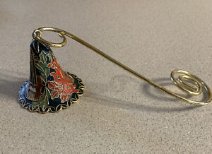Enamel Cloisonne Candle Snuffer Bell Shaped Christmas Colors outlined in gold.