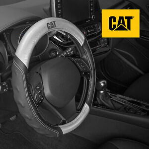 CAT Two Tone Carbon Fiber Soft Leather Grip Steering Wheel Cover - Universal Fit