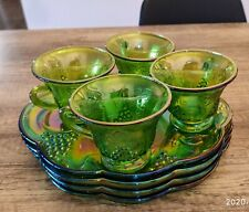 Set of 4 X Green Indiana carnival glass cups and plates