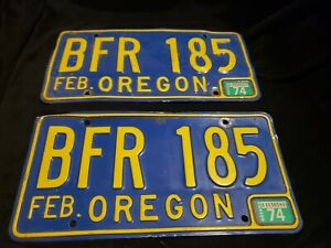 1974 Oregon License Plate Pair # BFR 185 Blue and Orange Plates