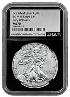 2019 W 1 oz Burnished Silver Eagle NGC MS70 ER Black Silver Foil Label SKU55846