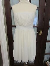 H&M white pleated/ribbed strapless dress, prom, summer, festival, size 10