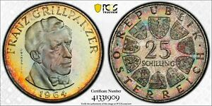 1964 AUSTRIA SILVER 25 SCHILLING PCGS PR67 TONED PROOF ONLY 1 GRADED HIGHER