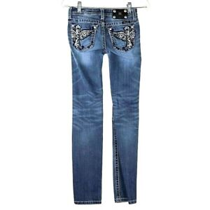 Miss Me Buckle Jeans Junior Size 14 Skinny Embellished  Denim  26W X 30L WJ10