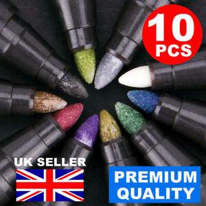 10PC METALLIC PAINT PEN MARKER GLASS PAINTING CERAMIC PORCELAIN ROCK WOOD KIT UK