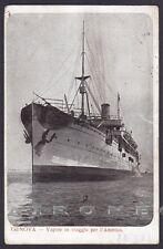 VAPORE IN VIAGGIO PER L'AMERICA - GENOVA - NAVE MARINA SHIP Cartolina viaggiata