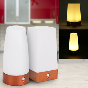PIR Motion Sensor Battery Operated LED Night Light Lamp ON/OFF/AUTO Bedside Lamp