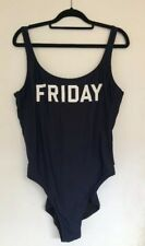 J CREW Women's Size US 14 Friday One Piece Swim Suit Navy Blue White Graphics