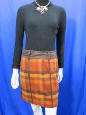 BIBA  brown check mix winter mini skirt UK 8.  F36 D34