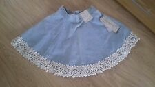 BNWT SIZE 6 LIGHT BLUE DENIM CIRCLE SKIRT WITH FLOWER LACE BORDER TO HEM